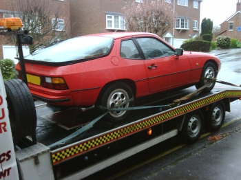 Porsche 924S on a Flatbed Lorry