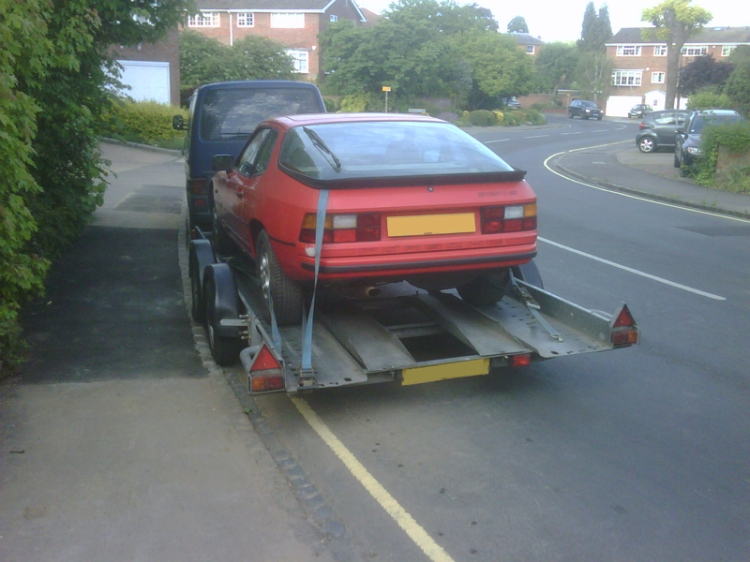 Porsche 924S being trailered away