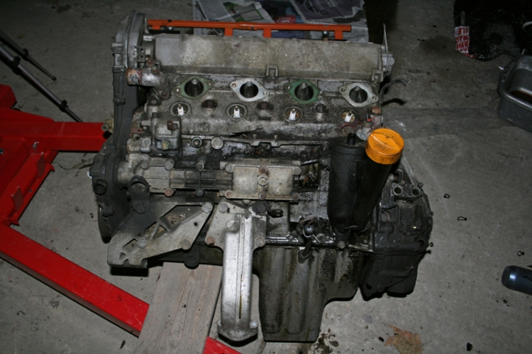 Porsche 924 S Engine Stood on Hoist
