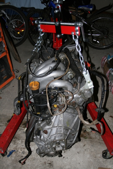 Porsche 924 S Engine on a hoist